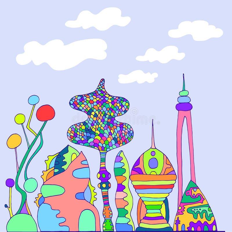 明亮,五颜六色的意想不到的城市,动画片剪影样式,手 皇族释放例证