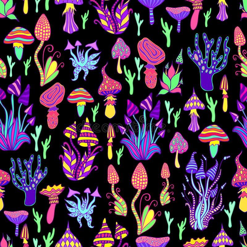明亮,引起幻觉,装饰,意想不到的蘑菇,彩虹颜色,每个蘑菇有它自己的样式 ?? 皇族释放例证