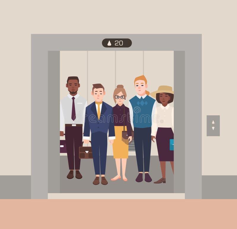 说明人的五颜六色的图象站立在开放电梯 穿着在古典的男人和妇女西装 向量例证
