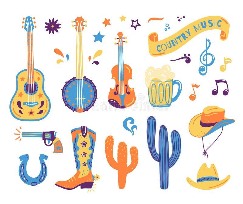 明信片或节日横幅的传染媒介手拉的概念乡村音乐节日的 集合的狂放的西部例证 库存例证