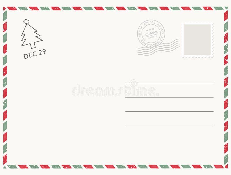 明信片模板纸白色纹理 传染媒介明信片空的邮票和消息设计 向量例证