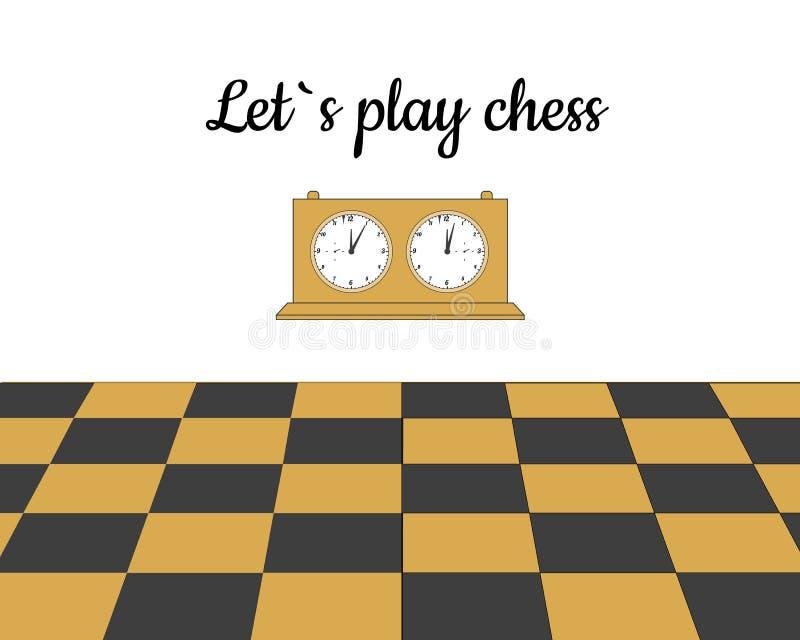 明信片让戏剧棋 棋时钟和棋盘 向量例证
