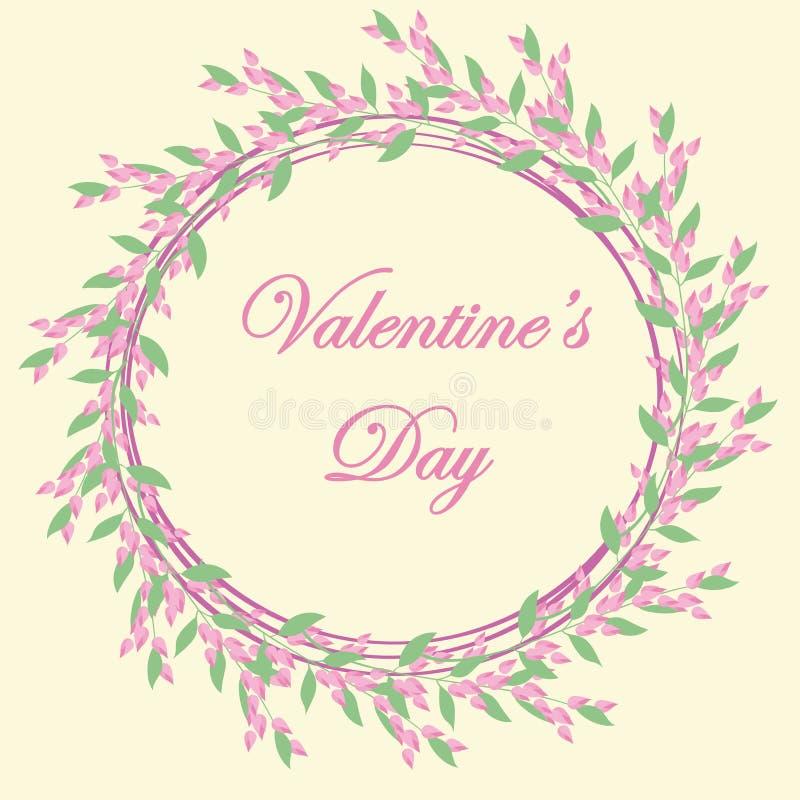明信片设计,婚姻的邀请, Valentin天,生日,母亲` s天的花卉框架 库存例证