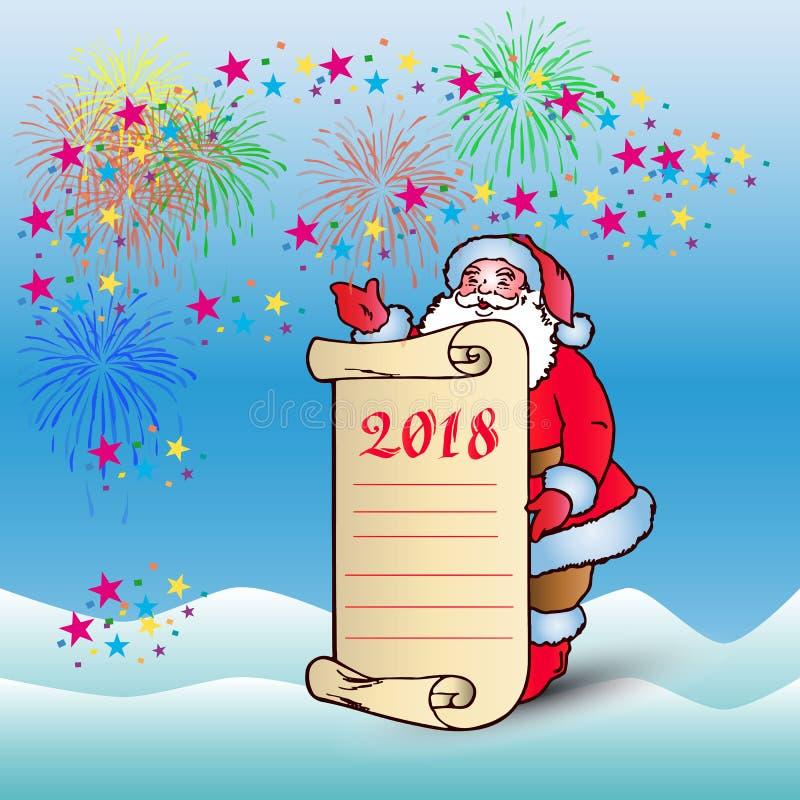 明信片,有羊皮纸空白纸的圣诞老人congratu的 皇族释放例证