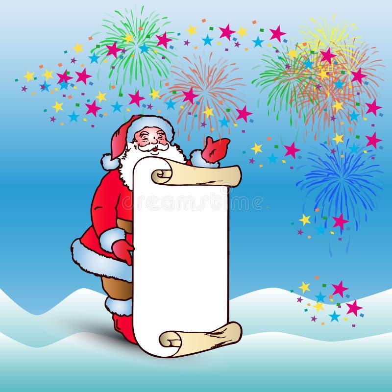 明信片,有羊皮纸空白纸的圣诞老人congratu的 库存例证