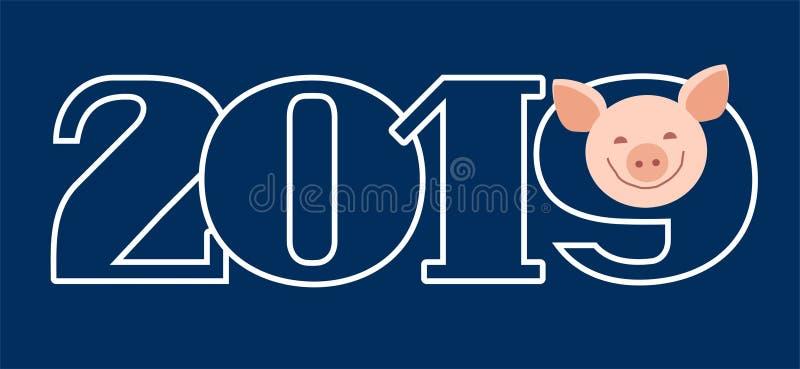 明信片2019年,猪,蓝色,等高,传染媒介 库存例证