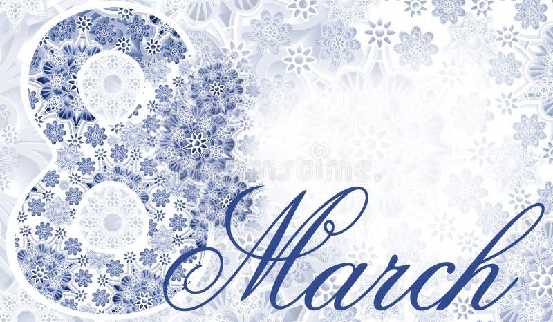 明信片3月8日 青白的鞋带背景 妇女` s假日 安置文本 免版税库存图片
