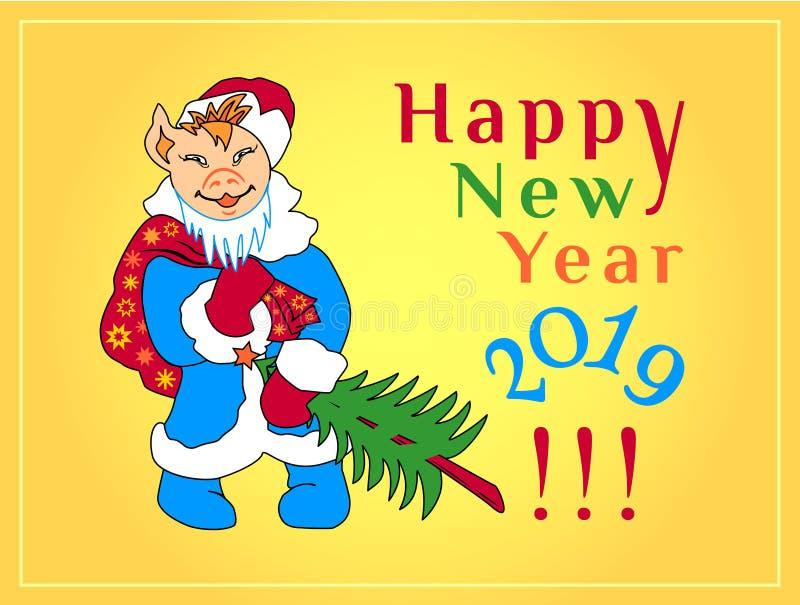 明信片 祝贺与一头动画片猪的图象的新年在圣诞老人项目服装的  库存例证