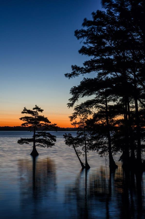 黎明前反射, Reelfoot湖,田纳西 图库摄影