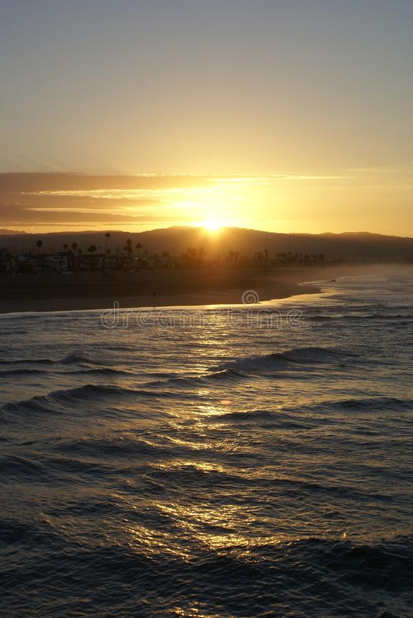 黎明在新港海滨,加利福尼亚 库存图片