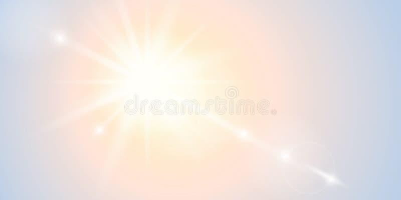 明媚的阳光美好的抽象晴朗的背景 向量例证