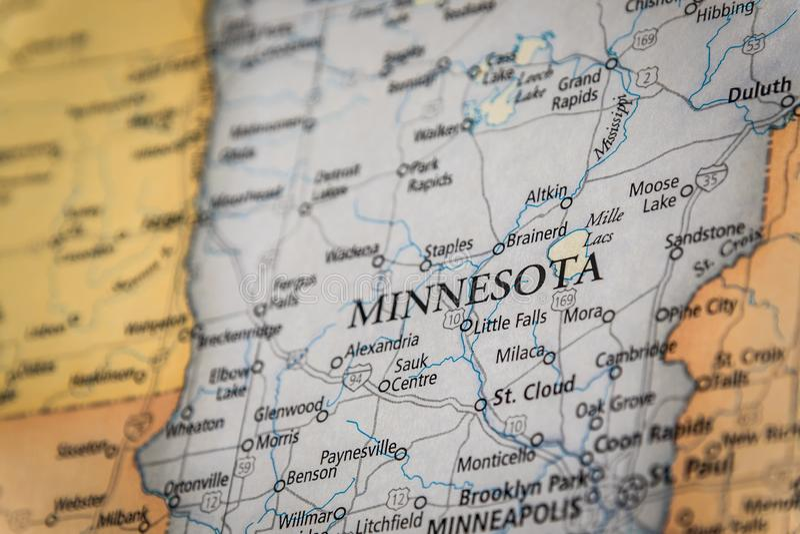 明尼苏达州对美国地理和政治州地图的选择性关注 免版税库存图片