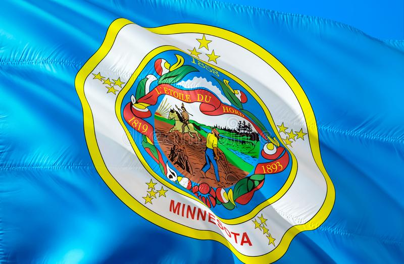 明尼苏达旗子 挥动美国州旗子设计的3D 明尼苏达州,3D的全国美国标志翻译 全国颜色和 免版税库存照片