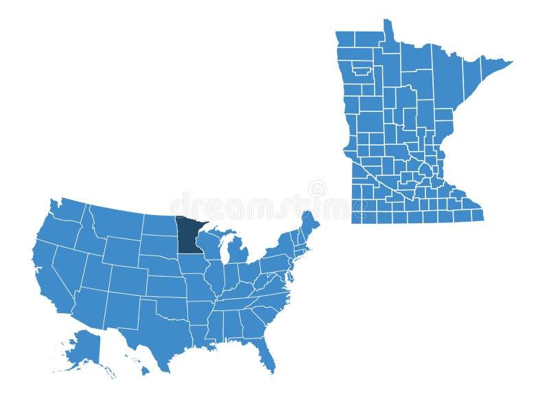 明尼苏达状态地图  向量例证