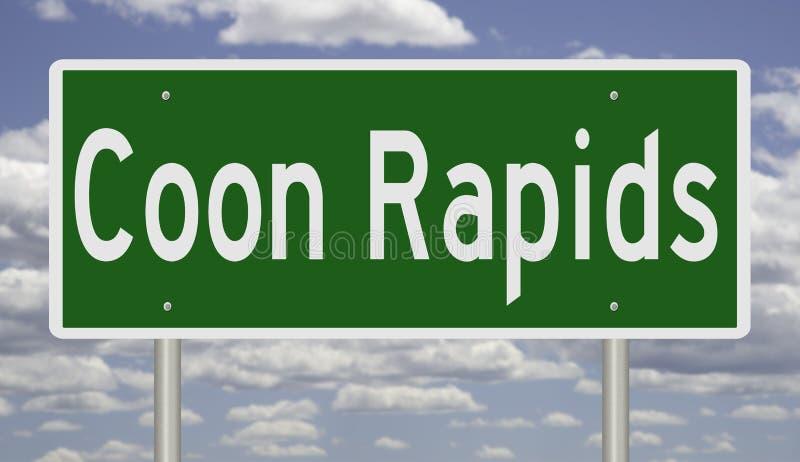 明尼苏达科恩急流城的公路标志。明尼苏达州柯恩急流高速公路绿色标志的绘制 库存图片