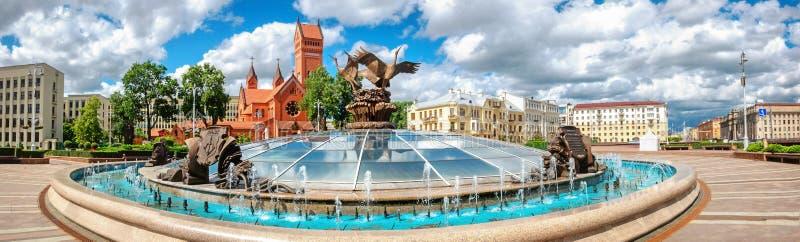 明斯克独立广场 白俄罗斯 免版税图库摄影