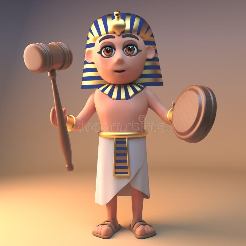 明智的古老埃及法老王拿着拍卖惊堂木锤子,3d的Tutankhamun例证 皇族释放例证