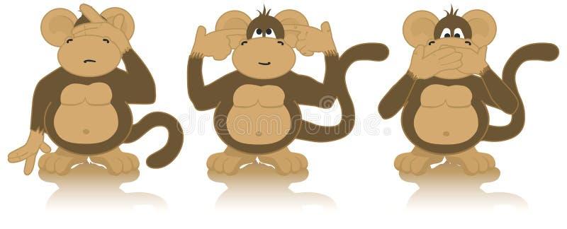 明智的猴子三 皇族释放例证