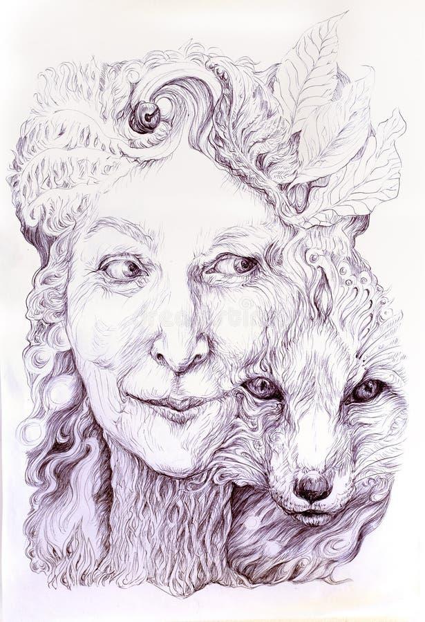 明智的shamanic妇女森林女神,有狐狸的第二自然的 库存例证