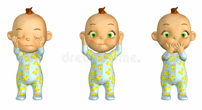 明智3个婴孩的动画片 库存例证
