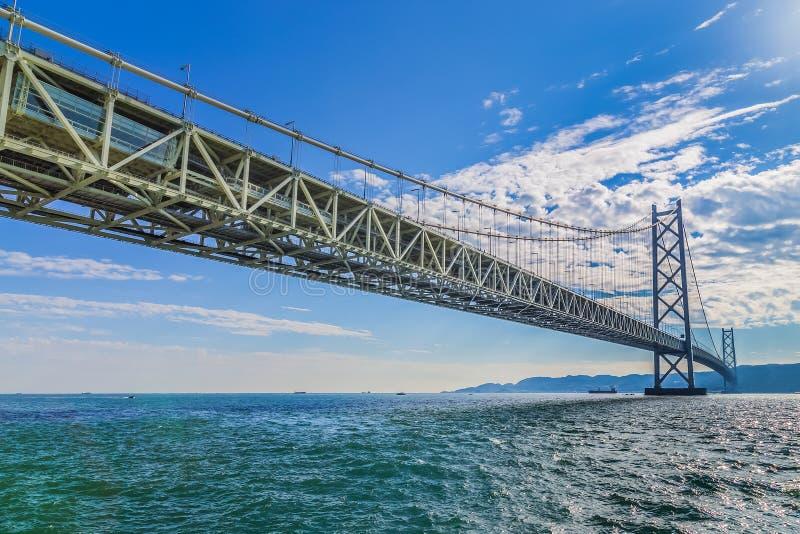 明石海峡大桥在神户,日本 免版税库存照片