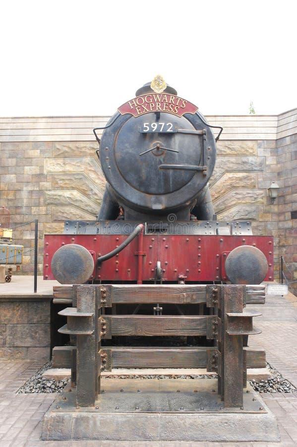 明确的Hogwarts或Hogwarts铁路被显示在哈利・波特陶瓷工Wizarding世界在环球影业大阪,日本 Bo 免版税图库摄影