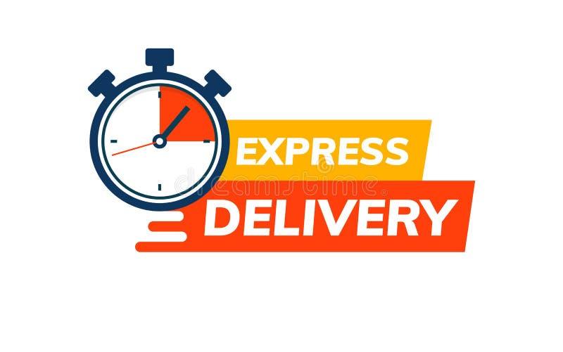 明确送货服务商标 与秒表的短时间交货单 快的运输的交付象 向量例证