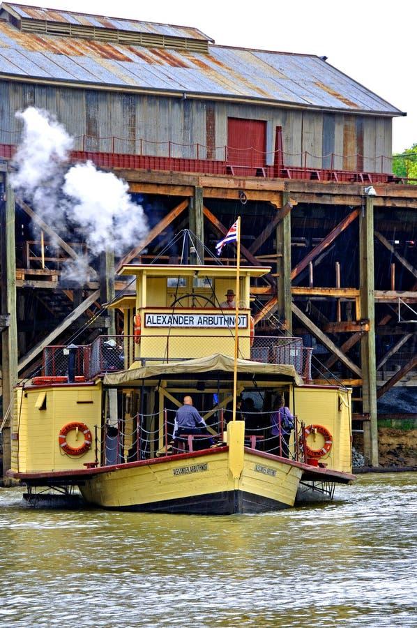 明轮船亚历山大ARBRUTHNOT, Echuca,维多利亚,澳大利亚港  免版税库存图片