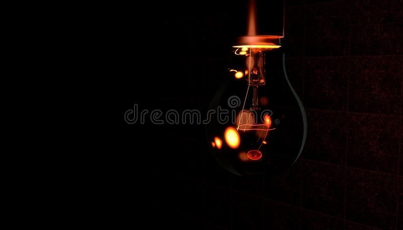 昏暗的红灯电灯泡 皇族释放例证