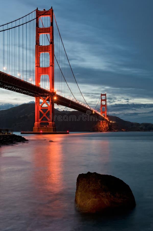 黄昏的金门大桥 库存照片