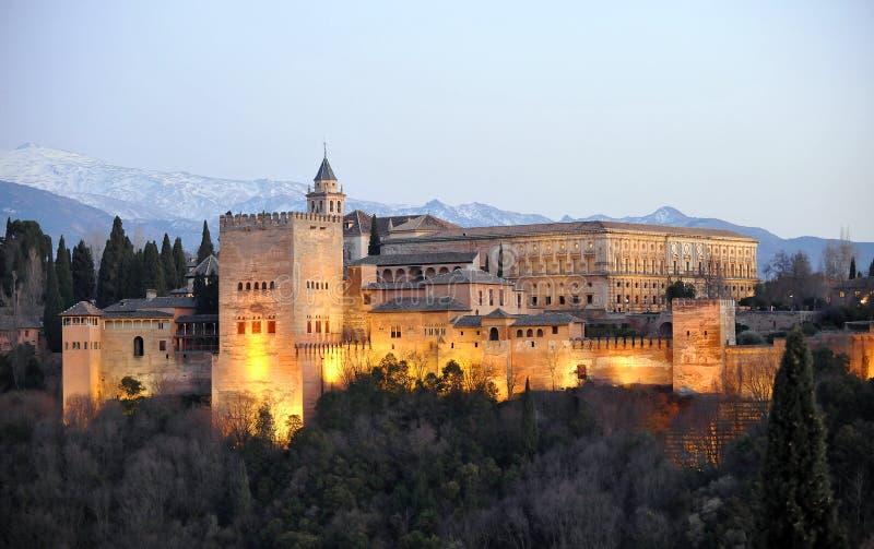 黄昏的阿尔罕布拉宫宫殿,格拉纳达,西班牙 库存图片