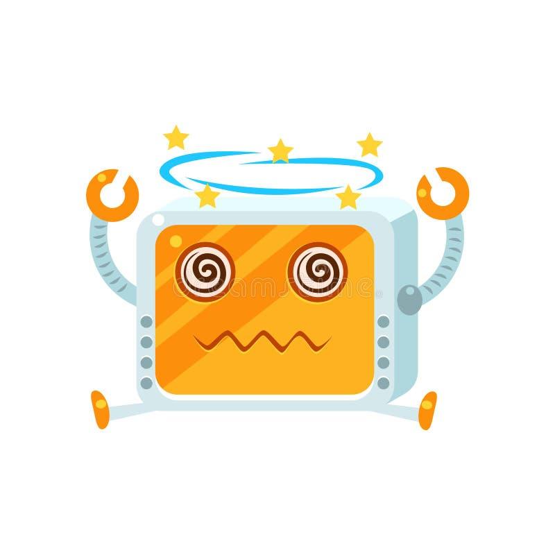 头昏眼花的小的机器人字符 库存例证