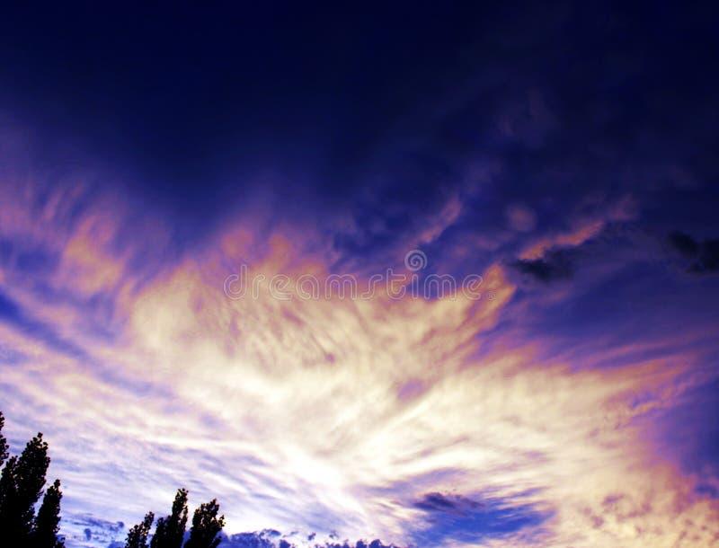 黄昏蓝色日落在南俄勒冈 库存图片