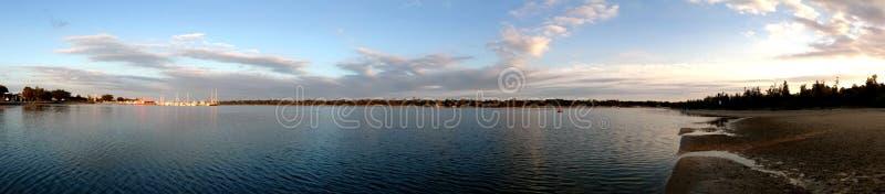 黄昏视图@湖入口,澳大利亚 图库摄影