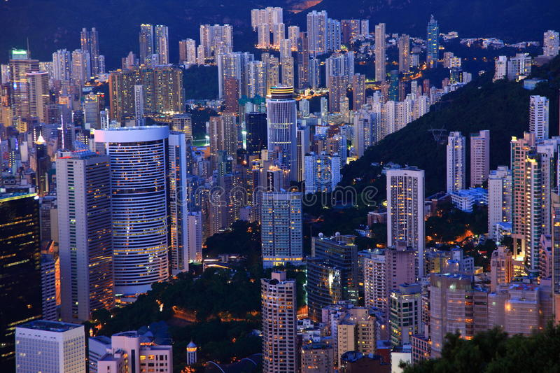 黄昏香港 库存照片