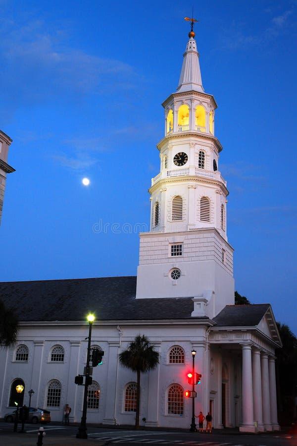 黄昏,圣Michaels查尔斯顿 库存照片