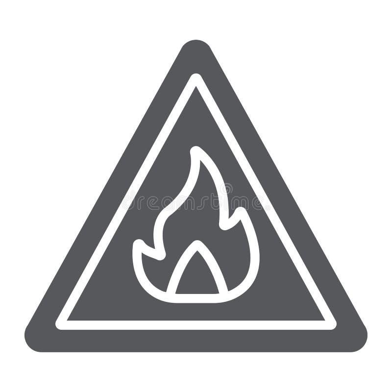 易燃的标志纵的沟纹象、警告和注意,火标志标志,向量图形,在白色的一个坚实样式 皇族释放例证