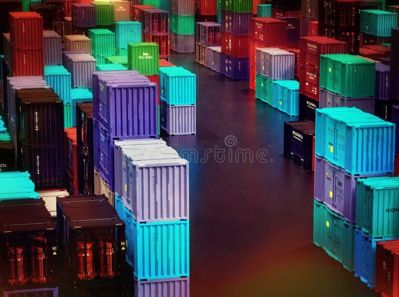 易碎的商品容器运送在温暖的干储存设施的货物 库存图片