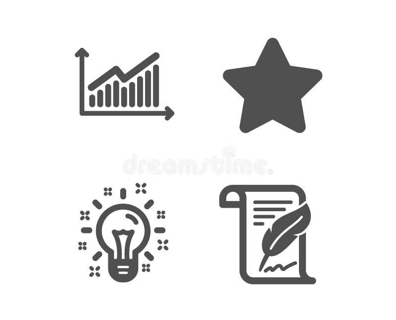 星、想法和图表象 羽毛标志 最佳的等级,创造性,介绍图 版权页 ?? 库存例证