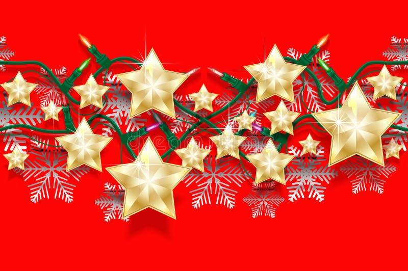 星、雪花和诗歌选的圣诞节无缝的水平的样式有电灯泡的 明亮的新年设计的边界 皇族释放例证