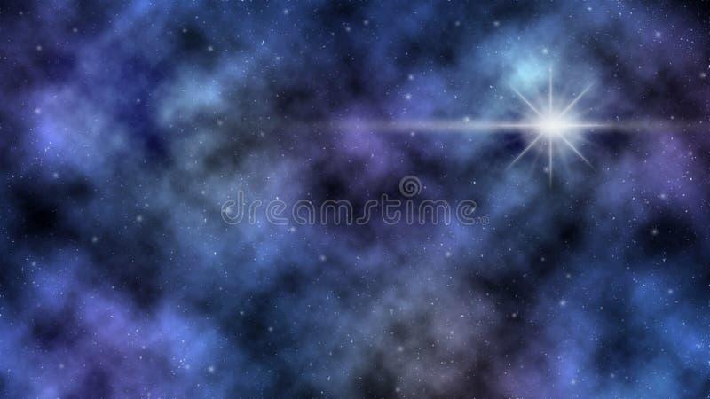 星云和发光的星在外层空间 免版税库存照片