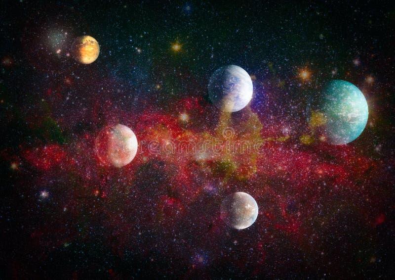 星云和在宇宙的星开放群 美丽的星云、星和星系 美国航空航天局装备的这个图象的元素 向量例证