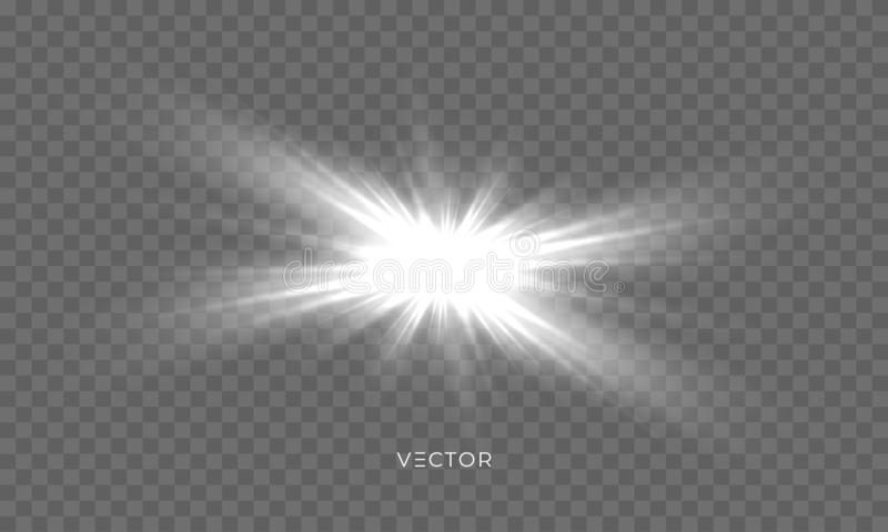 星亮光,太阳光焕发火花,导航与透镜火光作用的明亮的闪闪发光 被隔绝的太阳闪光和星光发光的光芒 向量例证