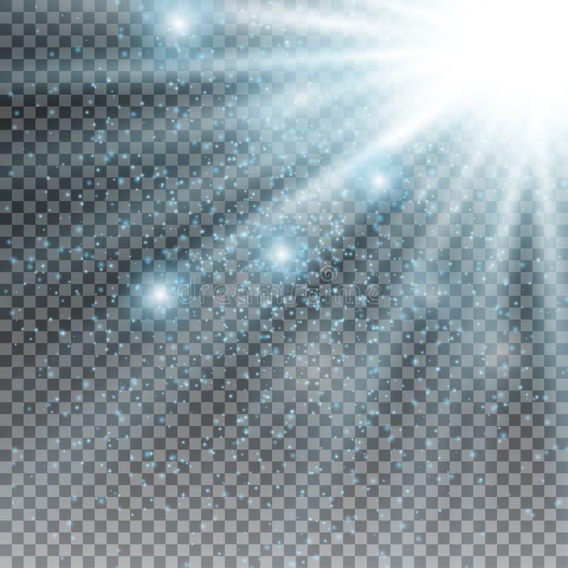 星光闪光爆炸与迷离和透镜火光作用的 光亮的太阳焕发 太阳光芒闪耀的光在透明的 向量例证