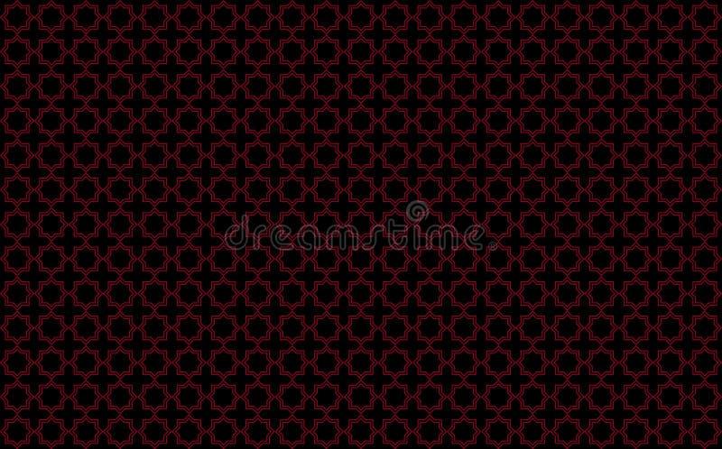 星和发怒象瓦片的设计与红色口音在黑背景,启发由叫作zellige或马赛克的摩洛哥tilework 皇族释放例证