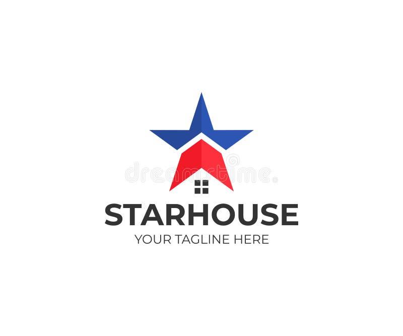 星和房子商标模板 美国房子传染媒介设计 库存例证