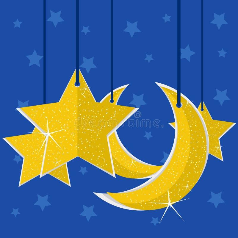 星和月亮纸 库存照片
