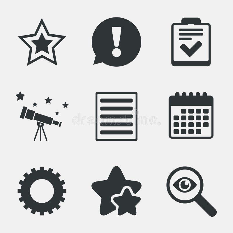 星和菜单名单标志 清单,齿轮 向量例证