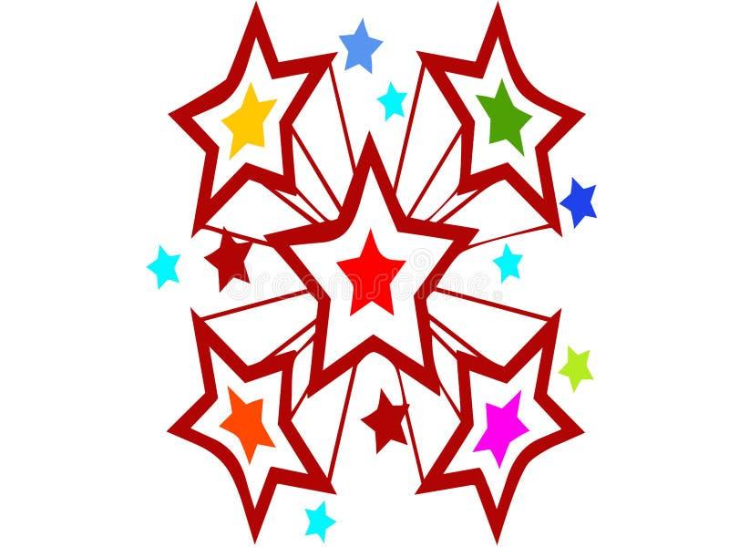 星和颜色爆炸,宴餐和庆祝目的 免版税库存照片