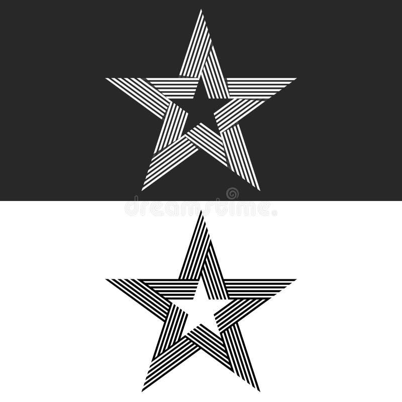 星商标摘要行家组合图案,设置了稀薄的线黑白品牌象,大模型印刷品T恤杉设计模板元素 向量例证